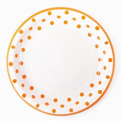 라인도트 파티접시 23cm - 오렌지(6입)