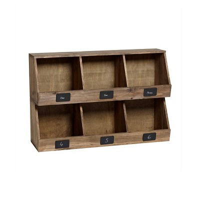 [Hubsch]Shelving unit w/3 compartments, antique, nature 886013 벽선반