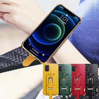 아이폰11 pro max 가죽 핸드 스트랩 밴드 매트 케이스
