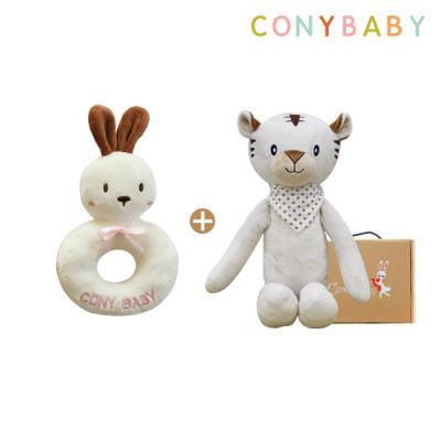 [CONY]오감발달애착인형세트(아기백호랑이+토끼딸랑이