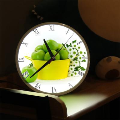 ng299-LED시계액자25R_풋사과와하얀꽃