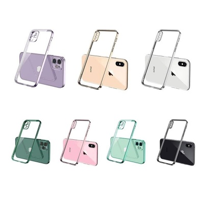 아이폰11 pro max 심플 컬러 라인 클리어 젤리 케이스