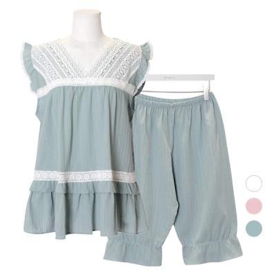 [쿠비카]브이넥 레이스 5부 투피스 여성잠옷 W591