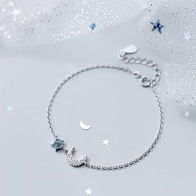 여성 실버 925팔찌 발찌 체인 푸른구슬 별큐빅 달