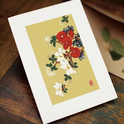 카드/축하카드/감사카드/연하장 붉은꽃 아래 FT214-3