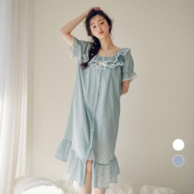 [쿠비카]도트 순면 원피스 반소매 여성잠옷 W452