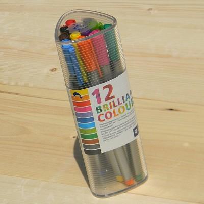 [STAEDTLER] 0.3mm 얇은 삼각 수성펜-독일 스테들러 트리플러스 화인라이너 삼각케이스 12색세트 334 PR12