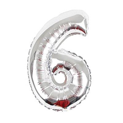 알파벳 숫자 은박풍선 (소) 실버 6