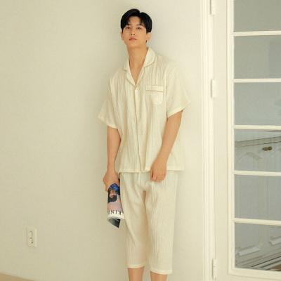 [쿠비카]네츄럴 요루 주름 카라넥 면 남성잠옷 M229