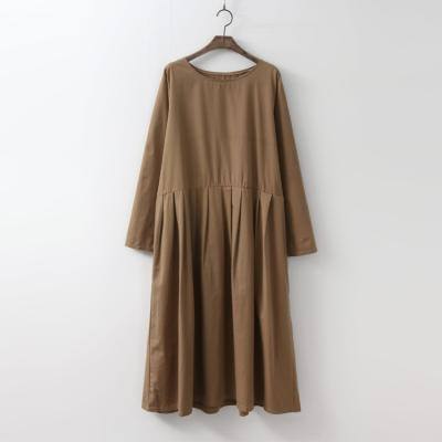 Cotton Pleated Oversized Long Dress