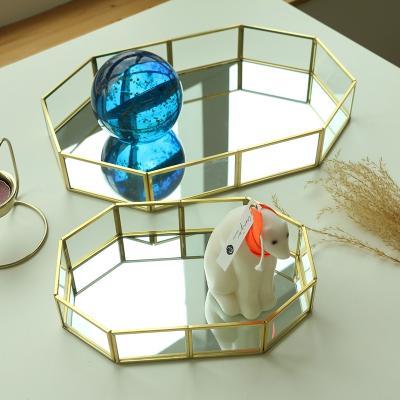 골드 팔각 미러 거울 트레이 2size 빈티지 엔틱 쟁반