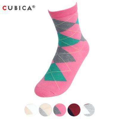 [쿠비카]패션 아가일 패턴 중목 여성양말 CAS-SCS051