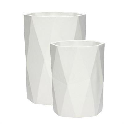 [Hubsch]Pot,concrete,white,tall,set 2 449013 화병