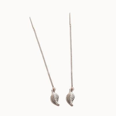 제이로렌 0M03235 나뭇잎 롱체인 실버 귀걸이