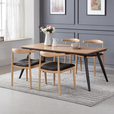 토바 무늬목 식탁 세트B 1600 + 의자 4개포함
