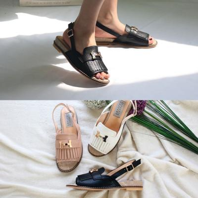 [애슬릿]프린지 토오픈 여성 플랫 슬링백 샌들 3cm