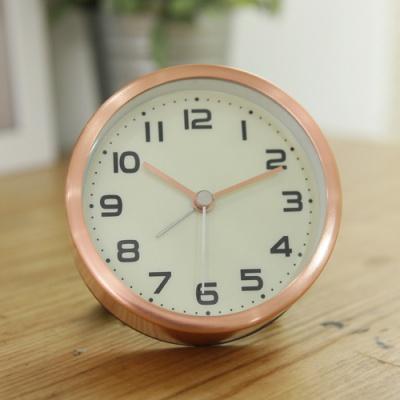 클래식 원형 알람 탁상시계(핑크골드)