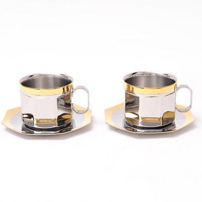 Gold 엠프리스 팔각 커피잔 세트 컵 2개 컵받침 2개