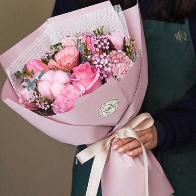 피치 핑크 꽃다발 생화 스탠다드 중형[전국택배]