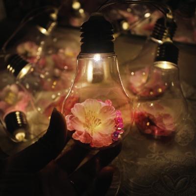 핑크 블라썸 플라워 전구 가랜드