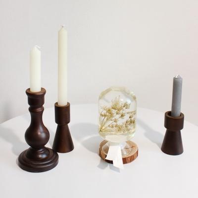 빈티지 엔틱 우드 촛대 3type 나무원목 양초 캔들홀더