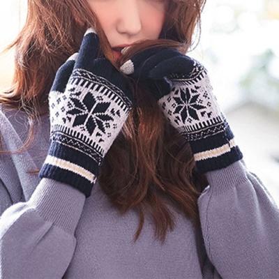 눈꽃패턴 터치 니트장갑(네이비) / 여성 겨울장갑