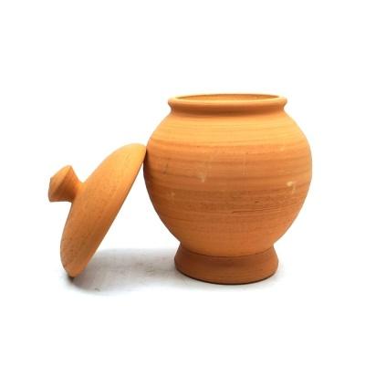 황토빛 미니 뚜껑형 오목단지 8x12cm 토분 소품