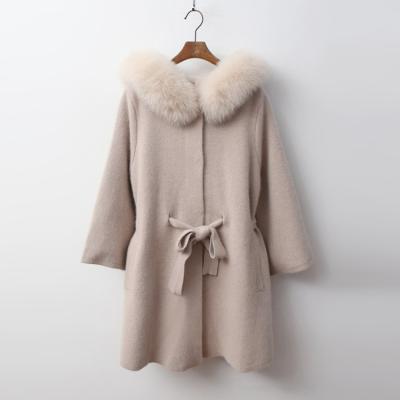 Fox Cashmere Wool Hood Poncho Warm Knit Coat