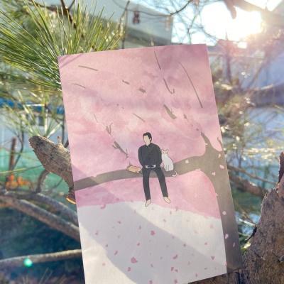 동주와 고양이 벚꽃 위에서 디자인 엽서