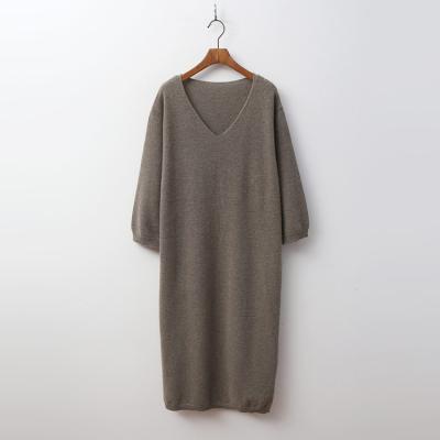 Cashmere Wool V-Neck Dress