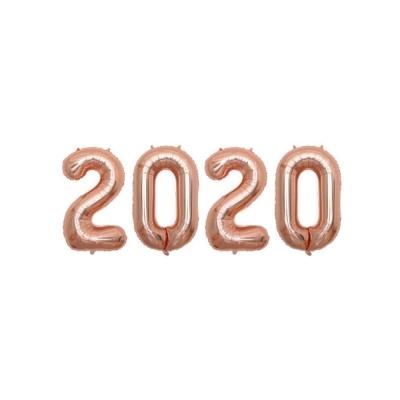 숫자 2020 은박풍선(소) 로즈골드 생일장식용품