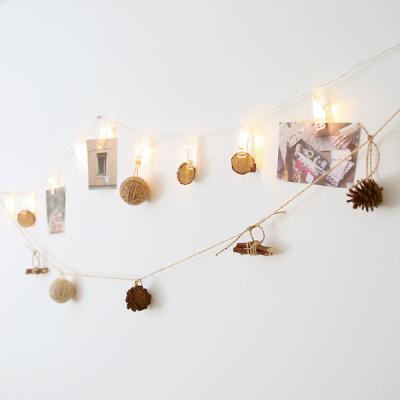 LED집게전구 + 솔방울 나무가지 가랜드