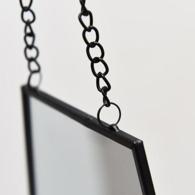 육각거울 헥사곤 블랙메탈 스트랩거울