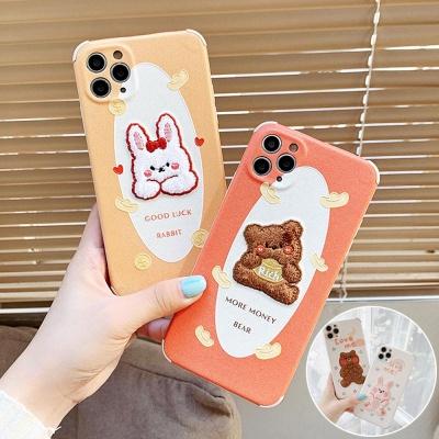 아이폰11 PRO MAX 토끼 곰 캐릭터 자수 실리콘 케이스