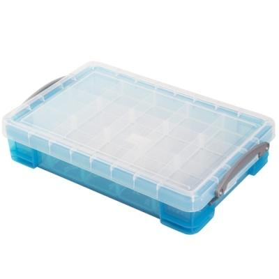 [Really Useful] 클리어박스4리터 (Litre) 2단칸막이 투명블루 [개/1] 302745