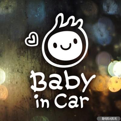 심플아기세로 자동차스티커-화이트(영문)