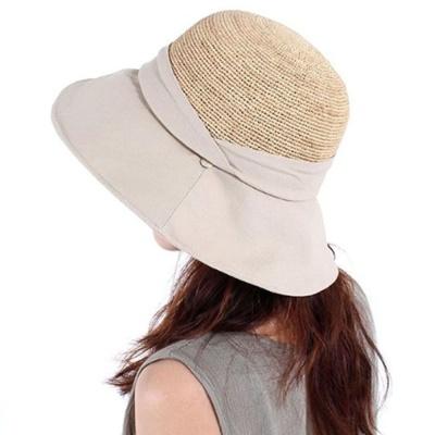 패션 창모자 밀짚 벙거지 여행 휴양지 모자 베이지