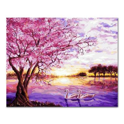 DIY 페인팅 핑크로 물든 호수 PL91 (40x50)
