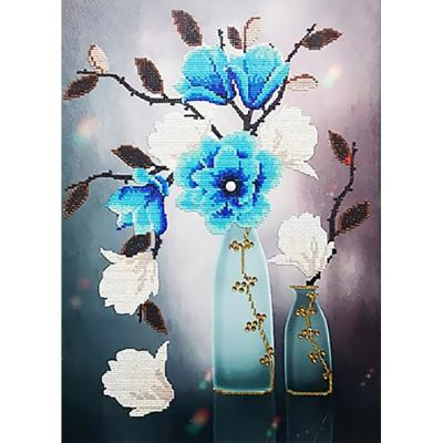 에메랄드 꽃화병 (패브릭) 5D 4K 보석십자수 40x56