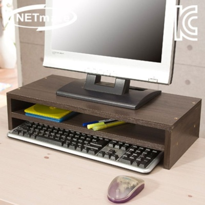 NETmate NMK-OMS08 2단 모니터 받침대 월넛