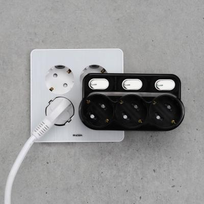 아이정 현대 회전형 개별 3구멀티탭 블랙 (스위치)