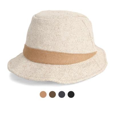[디꾸보]헤링본 삼각띠 배색 페도라 모자 DCH-AC769