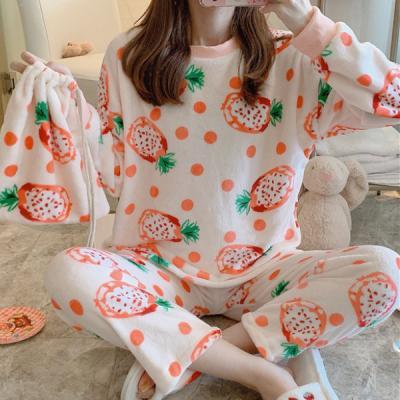 티야 귀여운 극세사 겨울 수면 세트잠옷