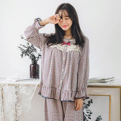 [쿠비카]모달 미니 체크 라운드 투피스 여성잠옷 W222