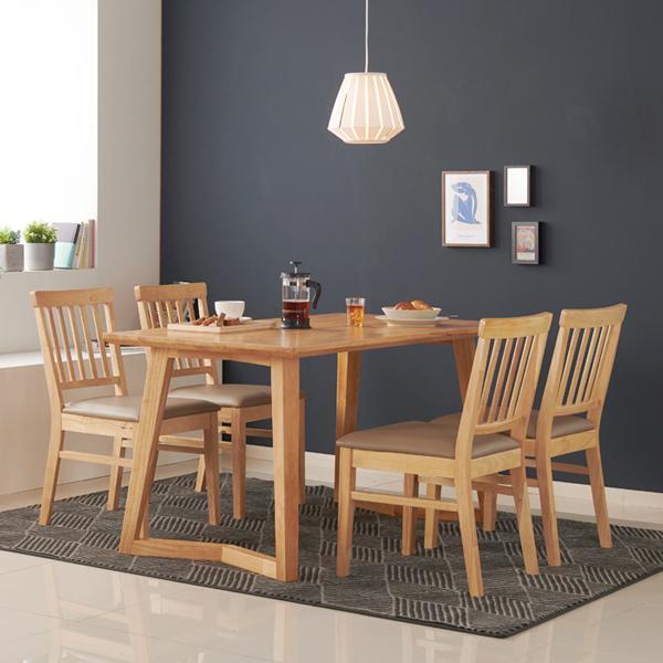 아르메 라떼 고무나무 원목 4인 식탁세트(의자4)