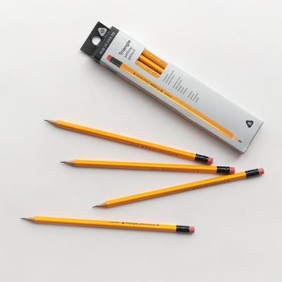 핑크풋 노랑 삼각 연필 10본 세트(B심) ver2