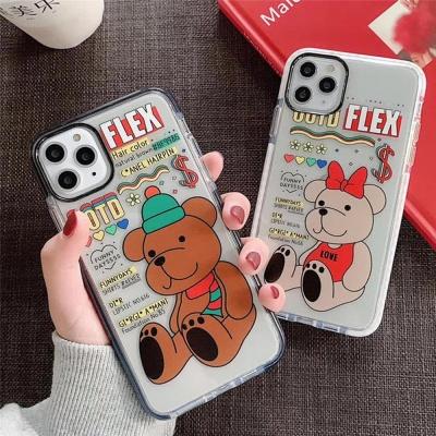 아이폰 커플 곰 테디베어 캐릭터 투명 실리콘 케이스