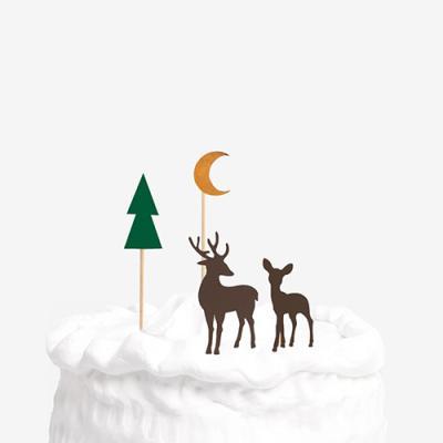겨울 숲속의 순록 데코픽 set