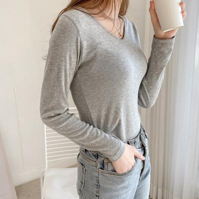 [애슬릿]국내 생산 브이 넥 봄 여성 긴팔 티셔츠
