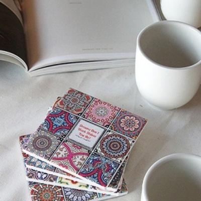 도자기 컵받침 4P세트 티코스터 커피잔 머그잔 받침